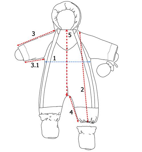 Замеры детский комбинезон трансформер
